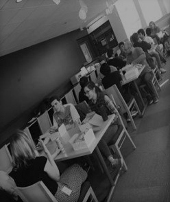 Students at Lunch in study room with industry representatives