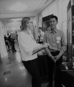 Student Networking with industry hiring representative